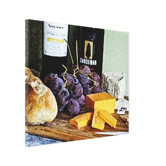Wine Bread Cheese and Grapes Still Life Stretched Canvas Print