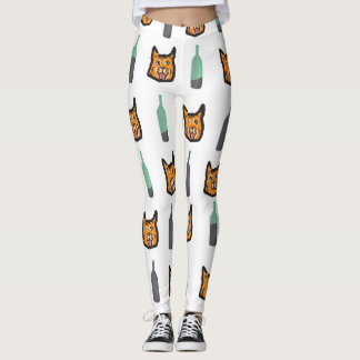 Wine Cat Never Alone Leggings