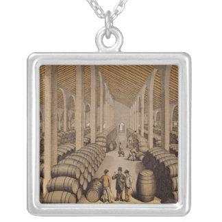 Wine Cellar at Jerez de la Frontera Square Pendant Necklace