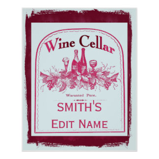Wine Cellar Sign Edit Name change text Poster