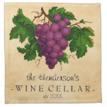 Wine Cellar with Grapes Vintage Personalised Name Cloth Napkins