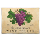 Wine Cellar with Grapes Vintage Personalised Name Placemat