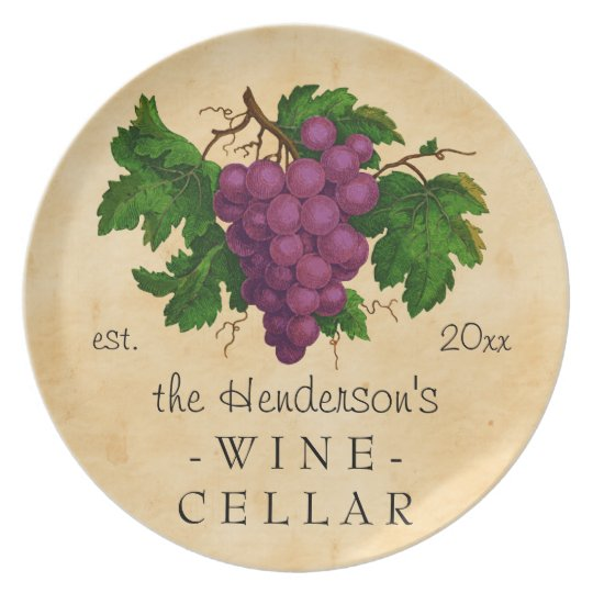 Wine Cellar with Grapes Vintage Personalised Name Plate