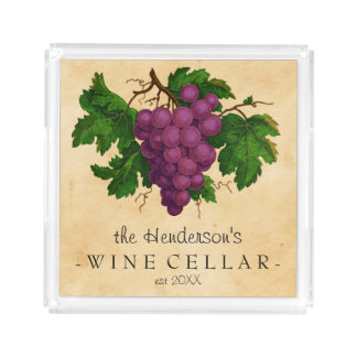 Wine Cellar with Grapes Vintage Personalized Name Acrylic Tray