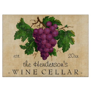 Wine Cellar with Grapes Vintage Personalized Name Cutting Board
