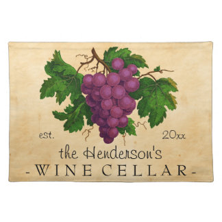 Wine Cellar with Grapes Vintage Personalized Name Placemat