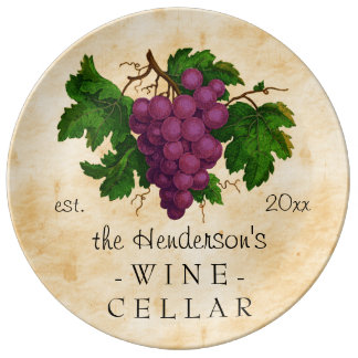 Wine Cellar with Grapes Vintage Personalized Name Porcelain Plate