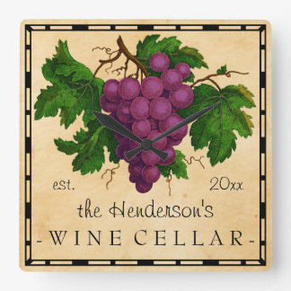 Wine Cellar with Grapes Vintage Personalized Name Square Wall Clock
