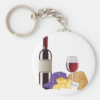 Wine & Cheese Key Ring