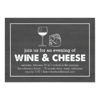 Wine & Cheese Party Black & White Chalkboard Card