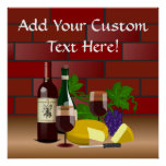 Wine Cheese Table Scene Poster