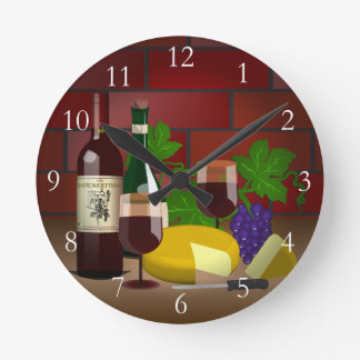 Wine Cheese Table Scene Round Clock