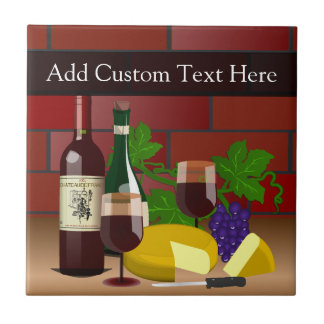 Wine Cheese Table Scene Tile