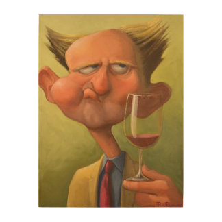 Wine Chewing Sommelier Wood Print