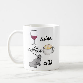 Wine Coffee Cats Mug