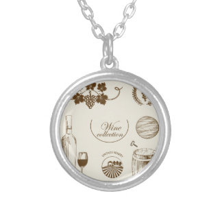 Wine Collection Round Pendant Necklace