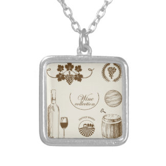 Wine Collection Square Pendant Necklace