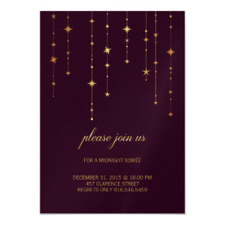 Wine Color Birthday/New Year Party Invitation