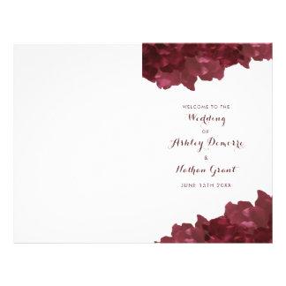 wine colored floral - wedding program flyer