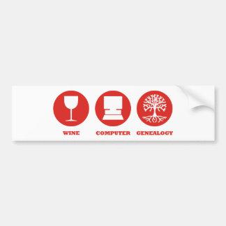 Wine Computer Genealogy Car Bumper Sticker