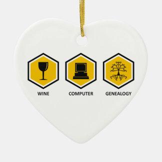 Wine Computer Genealogy Ceramic Heart Decoration