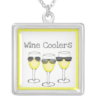 """""""WINE COOLERS' WHITE WINE WITH GLASSES PRINT SQUARE PENDANT NECKLACE"""