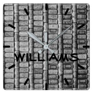 Wine Cork Black and White Square Wall Clock