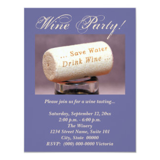 "Wine Cork Invitations 4.25"" X 5.5"" Invitation Card"