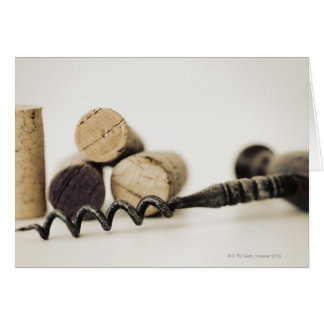 Wine corks with corkscrew card