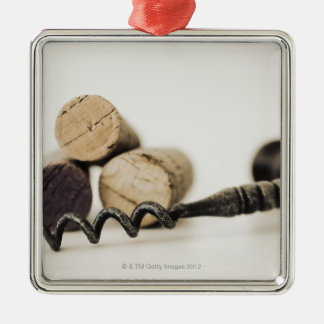 Wine corks with corkscrew christmas ornament