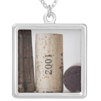 Wine corks with dates silver plated necklace