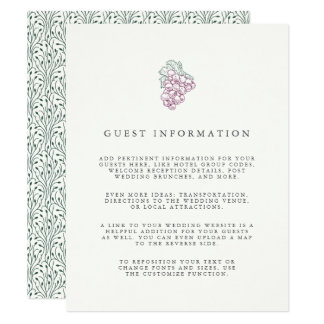 Wine Country | Guest Information Enclosure Card