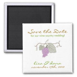 Wine Country Wedding grape vine Square Magnet