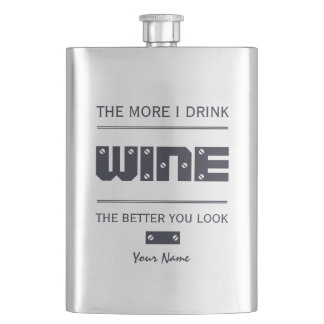 WINE custom monogram flask