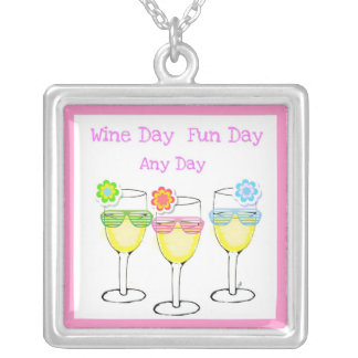"""""""WINE DAY"""" FUN ANY DAY WINE PRINT SQUARE PENDANT NECKLACE"""