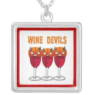 WINE DEVILS RED WINE AND DEVIL MASK PRINT SQUARE PENDANT NECKLACE