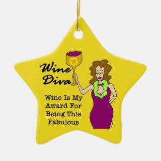 Wine Diva Custom Gold Star Dedication Award Christmas Ornament