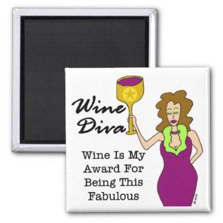 "Wine Diva ""Fabulous"" Square Magnet"