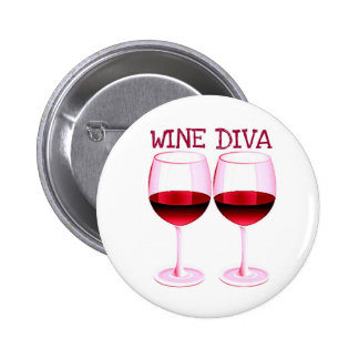 """WINE DIVA"" FUN RED WINE PRINT 6 CM ROUND BADGE"