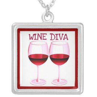 """""""WINE DIVA"""" FUN RED WINE PRINT SQUARE PENDANT NECKLACE"""