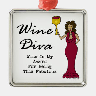 """Wine Diva """"Wine Is My Award For Being Fabulous"""" Christmas Ornament"""