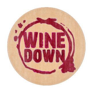 """Wine Down"" wine glass stain logo print Cutting Board"