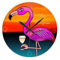 Wine drinking pink Flamingo personalised Large Clock
