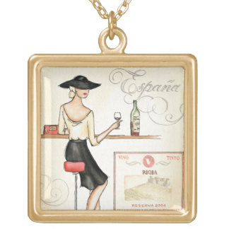 Wine Fashionista Square Pendant Necklace