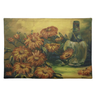 Wine Flask with Flowers Placemat