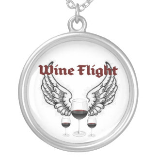 WINE FLIGHT WINGS AND RED WINE PRINT ROUND PENDANT NECKLACE