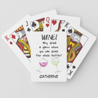 Wine Funny Words Saying Name Personalized Poker Deck