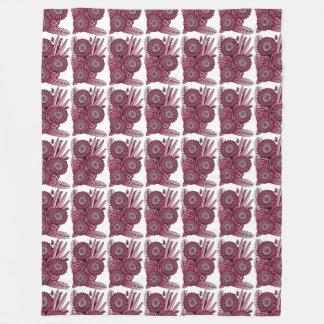 Wine Gerbera Daisy Flower Bouquet Fleece Blanket