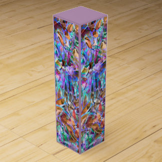 Wine Gift Box Floral Abstract Stained Glass
