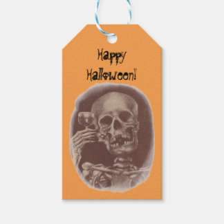 Wine Gift Tags Happy Halloween Skeleton Toast